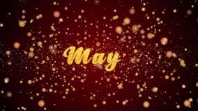Mei-de tekst glanzende deeltjes van de Groetkaart voor viering, festival vector illustratie