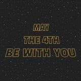 Mei de vierde is met u sc.i-FI gele grensbrieven op ruimteachtergrond met sterren royalty-vrije illustratie