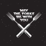 Mei de vorken is met u keuken en kokende verwante affiche Vector uitstekende illustratie stock illustratie
