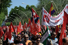1 Mei-demonstratie 34 Stock Foto