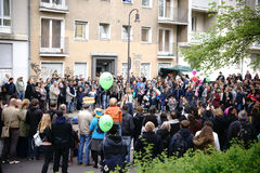 1 Mei-Demonstratie Berlin Kreuzberg Royalty-vrije Stock Fotografie
