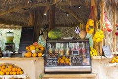 12 Mei 2018 een openluchtfruitbar die gedrukt of gedrukt fruit en plantaardige dranken verkopen op het doopcentrum van Yardenit o royalty-vrije stock afbeelding