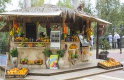 12 Mei 2018 een openluchtfruitbar die gedrukt of gedrukt fruit en plantaardige dranken verkopen op het doopcentrum van Yardenit o stock foto's