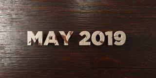 Mei 2019 - grungy houten krantekop op Esdoorn - 3D teruggegeven royalty vrij voorraadbeeld Stock Foto's