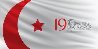 19 mei Herdenking van Ataturk, de Jeugd en Sportendag Aanplakbord, Affiche, Sociale Media, het malplaatje van de Groetkaart Turks vector illustratie