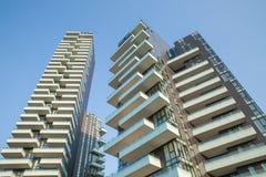 Mei 2017 Italië - Milaan - Torre Solaria, nieuwe manierflatgebouwen op het gebied van Porta Nuova van de stad stock fotografie