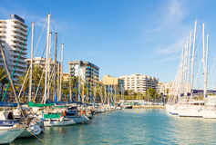 14 Mei 2016 Jachten bij Palma-baai Palma de Mallorca, Spanje Royalty-vrije Stock Afbeeldingen