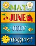 Mei juni juli augustus Stock Foto's
