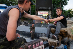 23 mei, 2014: Kiev Maidan na de revolutie van waardigheid Royalty-vrije Stock Foto's