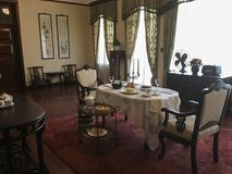 Mei-ling Palace in Nanjing city,China. Dining room in Mei-ling Palace. The palace is named after Soong Mei-ling 1898-2003, First Lady of the Republic of royalty free stock images
