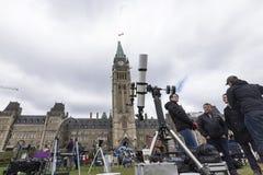 10 mei, 2016 - Ottawa, Ontario - Canada - Mercury-doorgang van de zon Royalty-vrije Stock Afbeelding