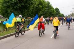 30 mei, 2015: Poltava ukraine Cirkelende Fietsparade Royalty-vrije Stock Foto's