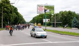 30 mei, 2015: Poltava ukraine Cirkelende Fietsparade Stock Afbeelding