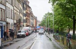 Mei-protest tegen de arbeidshervormingen van Frankrijk Stock Afbeelding