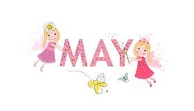 Mei-tekst met leuk sprookje Mei en de lentetijd Royalty-vrije Stock Fotografie