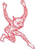 Meia coruja do meio homem com dança dos tatuagens Fotos de Stock Royalty Free