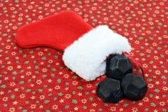 Meia do Natal com carvão imagens de stock