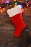 Meia do Natal com luzes Imagens de Stock