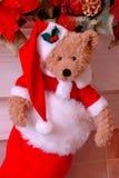 Meia do Natal do urso de Santa Fotografia de Stock