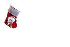 Meia do Natal em um fundo branco Imagem de Stock Royalty Free