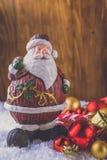Meia e brinquedos da decoração do Natal fotografia de stock royalty free