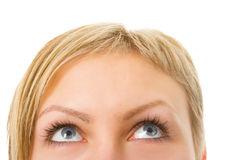Meia face da mulher com olhos Imagens de Stock