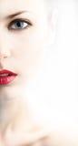 Meia face estilizado da jovem mulher bonita Foto de Stock Royalty Free