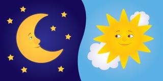 Meia lua e sol Imagens de Stock Royalty Free