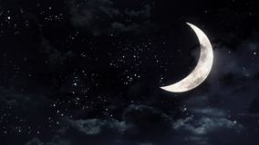 Meia lua no céu nocturno Fotos de Stock Royalty Free