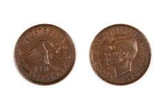 Meia moeda australiana da moeda de um centavo isolada imagens de stock