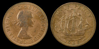 Meia moeda de um centavo Foto de Stock Royalty Free
