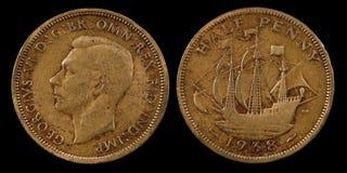 Meia moeda de um centavo Foto de Stock