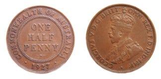 Meia moeda de um centavo australiana 1927 pre-decimal Foto de Stock Royalty Free
