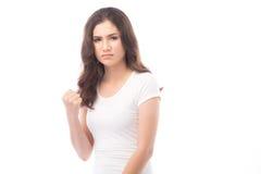 Meia mulher asiática irritada no fundo branco Imagens de Stock Royalty Free