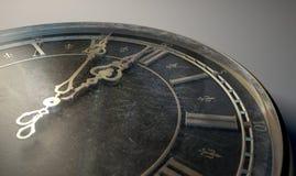 Meia-noite antiga macro do relógio Imagens de Stock