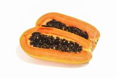 Meia papaia no fundo branco Imagem de Stock Royalty Free