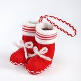 Meia vermelha de Santa Fotografia de Stock