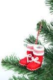 Meia vermelha de Santa Fotografia de Stock Royalty Free
