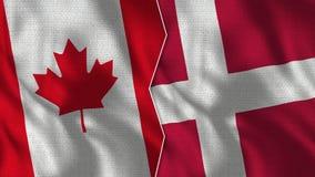 Meias bandeiras de Canadá e de Dinamarca junto imagens de stock royalty free