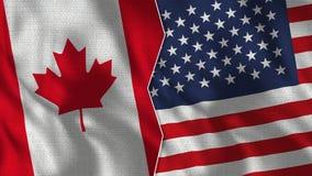 Meias bandeiras de Canadá e de EUA junto fotografia de stock