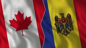 Meias bandeiras de Canadá e de Moldova junto fotos de stock