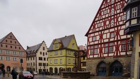Meias casas da madeira do tauber do der do ob do rothenburg fotografia de stock
