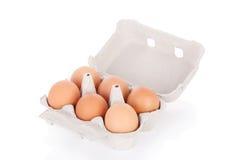 Meias dúzia ovos marrons da galinha Imagens de Stock