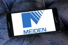 Meidensha Corporation logo. Logo of Meidensha Corporation on samsung mobile. Meidensha manufacturing and selling of generators, substation equipment, water Royalty Free Stock Photo