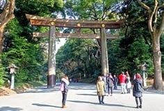 Meiji Jingu Shrine in Shibuya, Tokyo. The Meiiji Jingu Shrine is a Shinto shrine dedicated to deified spirits of the Emperor Meiji and his wife Empress Shoken stock image