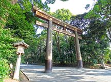 Meiji Jingu Shrine in Shibuya, Tokyo. The Meiiji Jingu Shrine is a Shinto shrine dedicated to deified spirits of the Emperor Meiji and his wife Empress Shoken stock photo