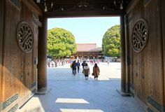 Meiji Jingu Shrine in Shibuya, Tokyo. The Meiiji Jingu Shrine is a Shinto shrine dedicated to deified spirits of the Emperor Meiji and his wife Empress Shoken stock photography