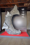 Meiji-Ära Karpfendekoration auf Himeji-jo Stockfotos