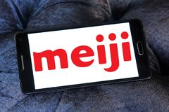 Meiji Holdings logo. Logo of Meiji Holdings company on samsung mobile. the Meiji Group offers a wide range of products including confectioneries, dairy goods Royalty Free Stock Photos
