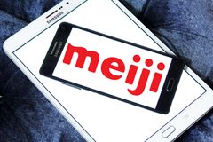 Meiji Holdings logo. Logo of Meiji Holdings company on samsung mobile. the Meiji Group offers a wide range of products including confectioneries, dairy goods Royalty Free Stock Images